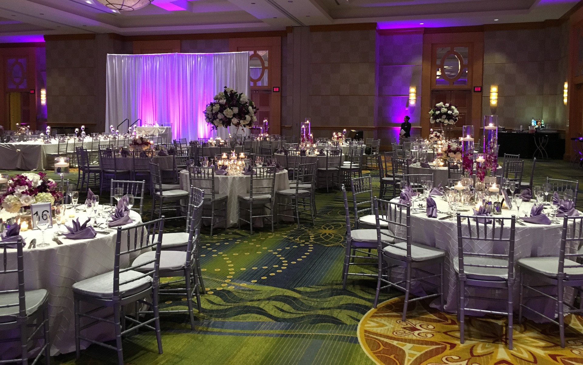 Event organizer wedding planners party coordinator dc md va wedding reception with beautiful white roses in centerpieces junglespirit Images