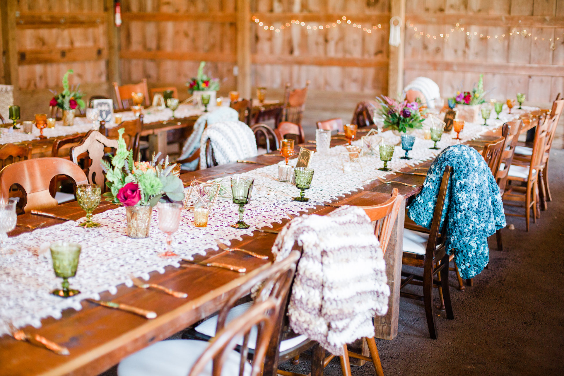 wedding reception with colored stemware