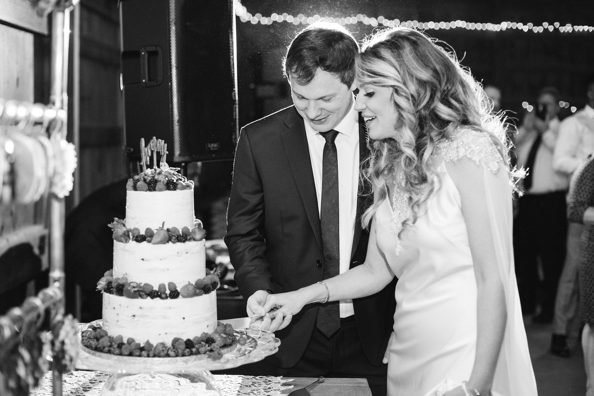Wedding Cake Being Cut By Bride and Groom