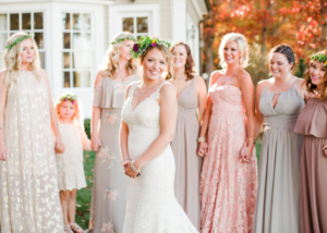 beautiful bride and bridesmaids at vintage style wedding