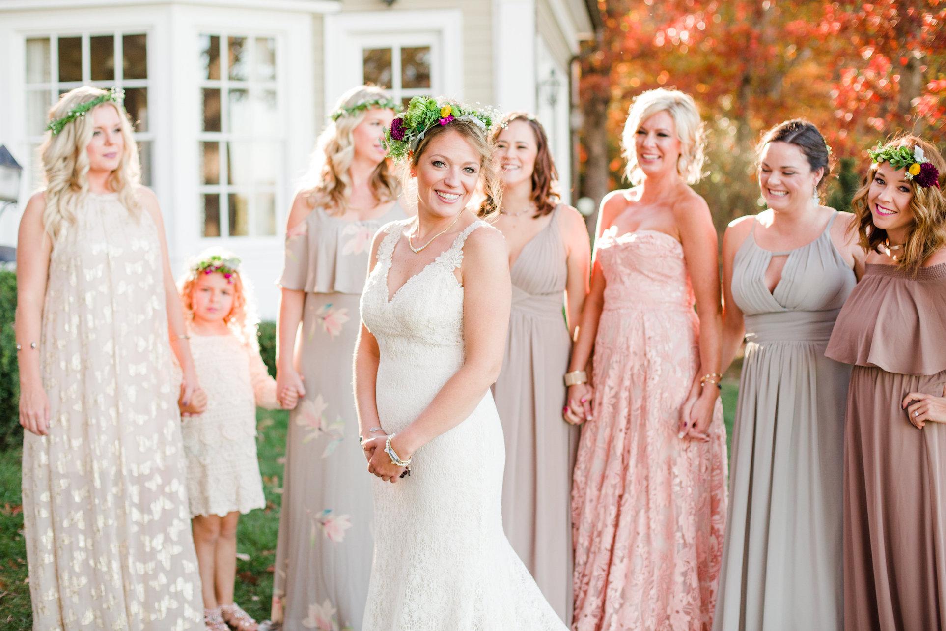 beautiful bride and bridesmaids at vintage style wedding