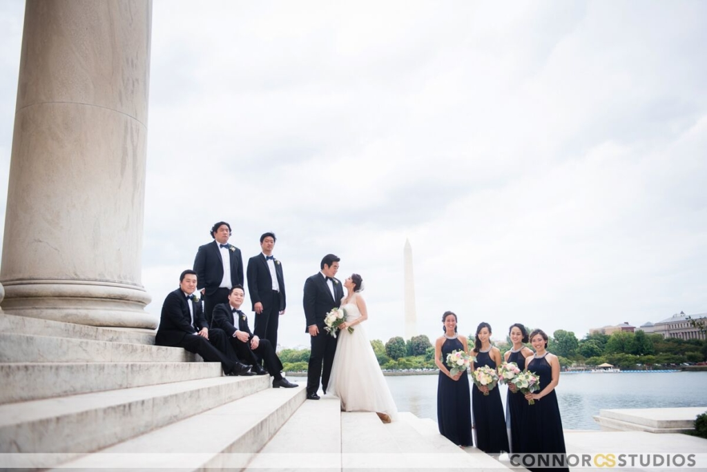 wedding party photos in front of washington monument