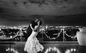 black and white bride and groom dancing at wedding reception