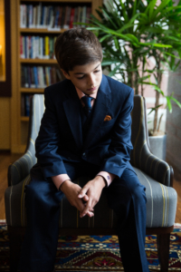 boy preparing for bar mitzvah