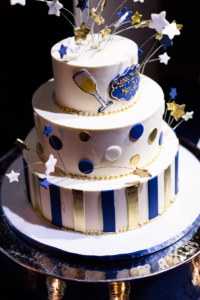 Birthday Cake Three Tiers in Blue and Gold